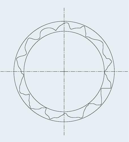 Typische Lochgeometrie vor dem Reiben mit Cogsdill