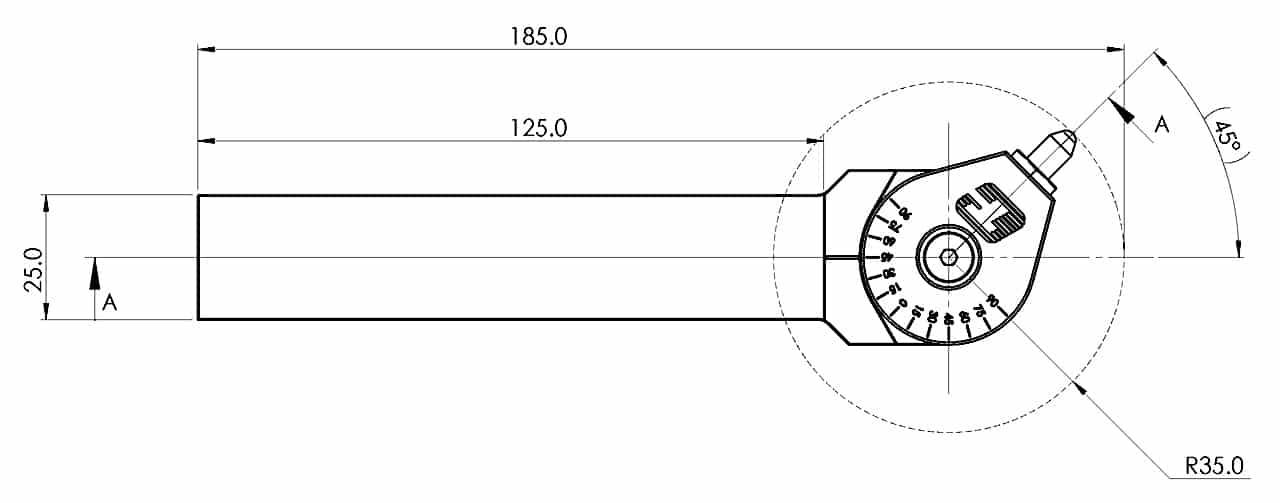 Universal Diamant Rollierwerkzeug (UDBT) S-25 Zeichnung